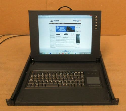 "CyberView RKP115 15"" 1U Rackmount TFT LCD Display Monitor Keyboard Draw"